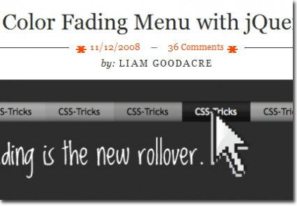 jQuery menu color fading