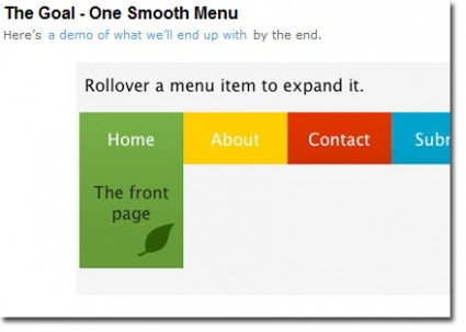 jQuery smooth menu